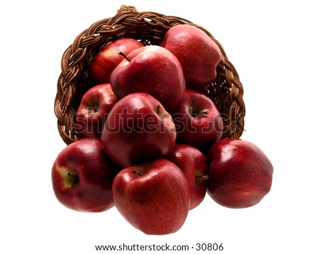 Basket of Red Delicious apples isolated on white.