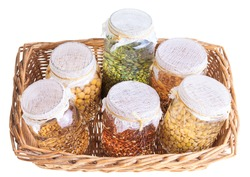 Basket of Soaked Sprouting Seeds Isolated on White Background