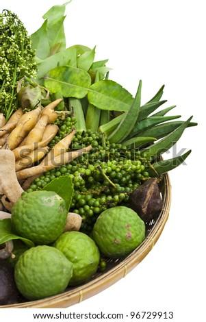 basket of thai homegrown vegetables