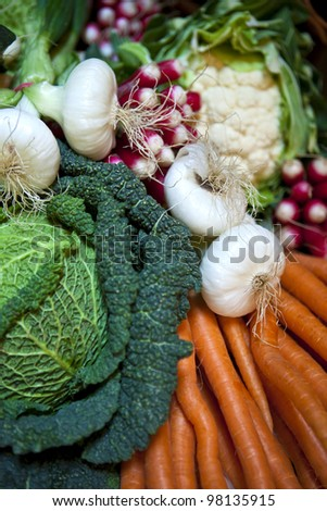 Basket of vegetables in the market