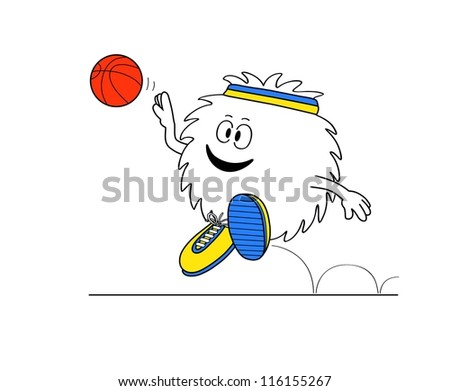 basket player outlined comics character