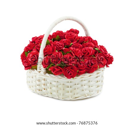 Basket roses isolated over white
