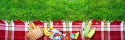 Basket Setting Food Apples Bread Fruit Drink Juice Cheese Pears Banana Checkered Plaid Picnic Green Grass Summer Time Rest Background Banner