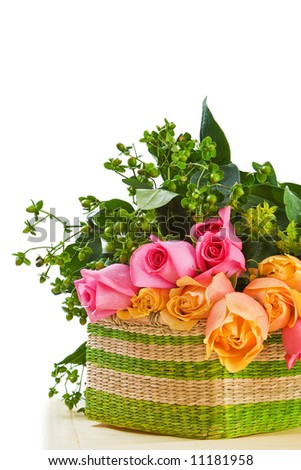 Basket w/Roses isolated on white