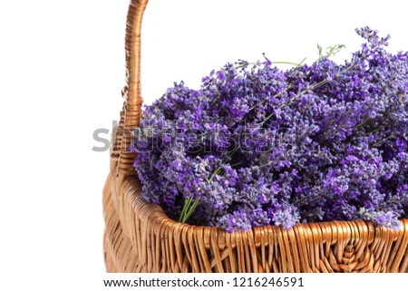 Basket with a lavender, isolated on white background #1216246591