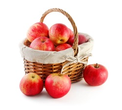 basket with apples, isolated on white