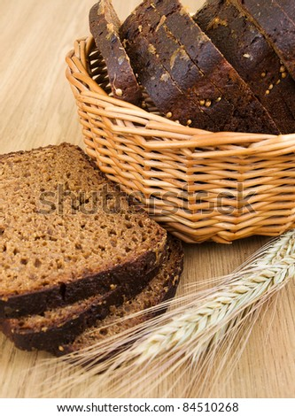 Basket with bread and wheat on the table
