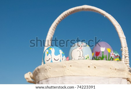 Basket with Easter eggs against clear blue sky