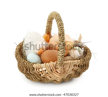Basket with eggs on white background
