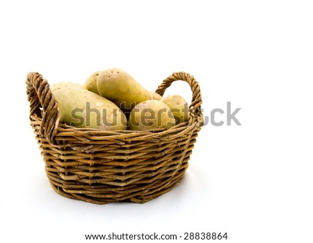 Basket with fresh potatoes on a white background
