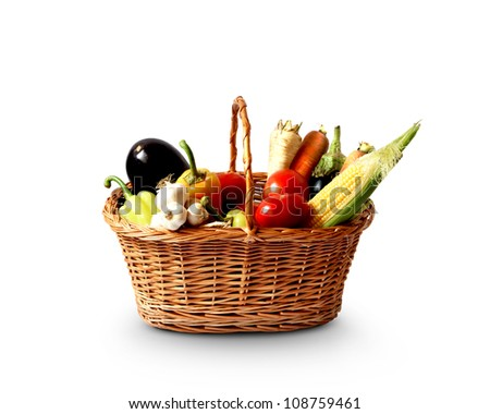 basket with fresh vegetables, healthy concept