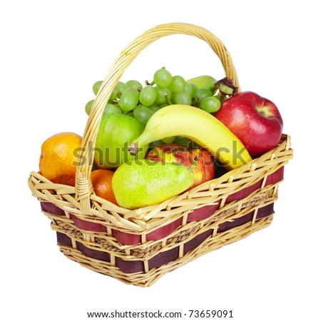 basket with fruits isolated on white - stock photo