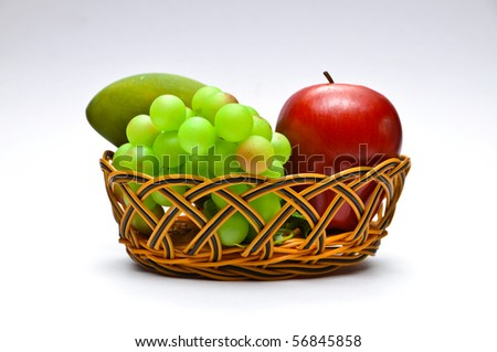 Basket with fruits, isolated on white background