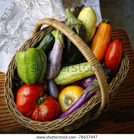 Basket with garden vegetables
