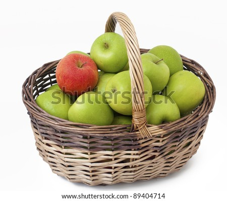 basket with green apples and one red one and empty space for your text
