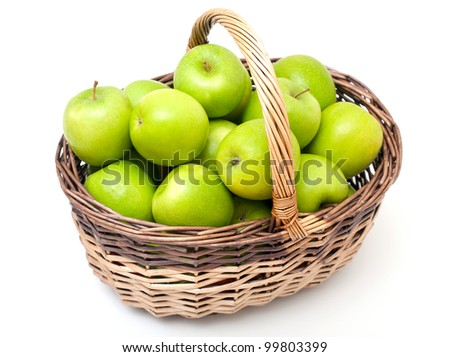 basket with green apples isolated on white background