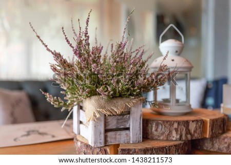 Basket with Heather on the table.heather in a basket . Autumn decorations.pink and purple flowers heather,heath in wooden box,autumn plants and lantern.country house. Seasonal decorations #1438211573
