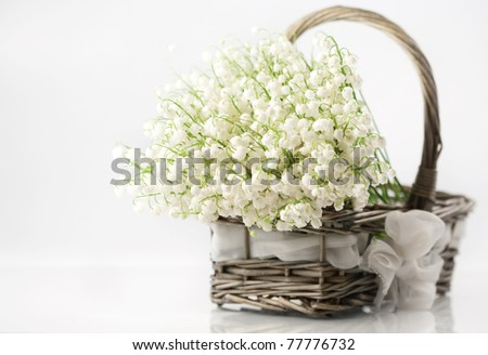 Basket with lilies of the valley on white background