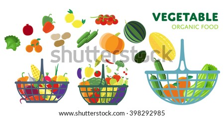 Basket with vegetables, raster illustration. Three different baskets of vegetables from the farm.