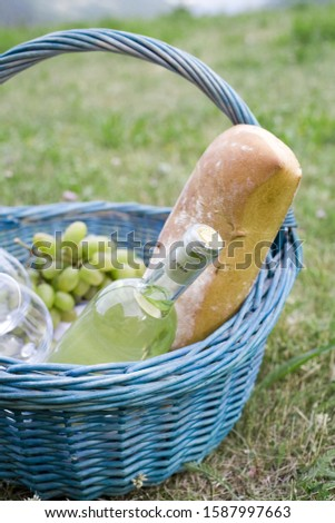 Basket with wine, bread and grapes outdoors