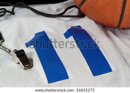 Basketball and Whistle on Jersey