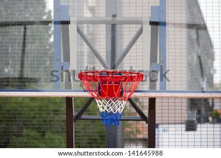 Basketball backboard on the street basketball court