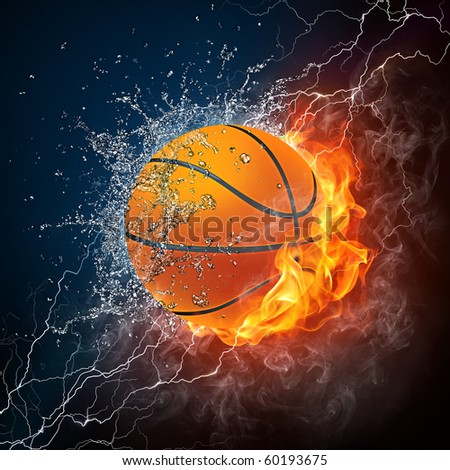 Basketball ball in fire and water. Raster illustration of the basketball ball enveloped in flame and water isolated on black background. Ball Image for the basketball game poster.