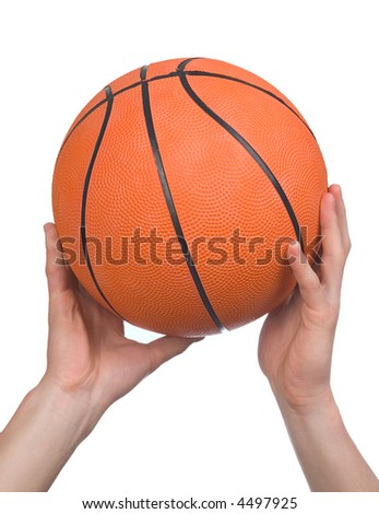 Basketball ball in hands on a white background