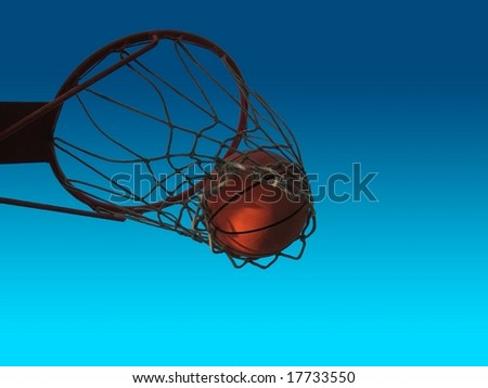 basketball ball in the net