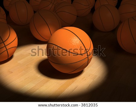 basketball  ball over the hardwood floor by spot lighting (3D)