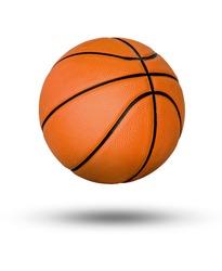 Basketball ball over white background.