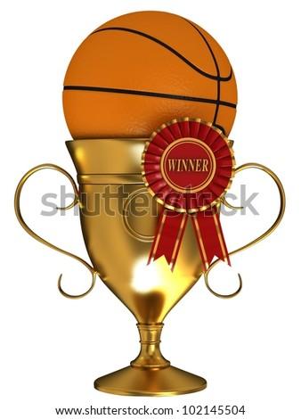 Basketball ball with cup