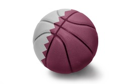 Basketball ball with the national flag of Qatar on a white background