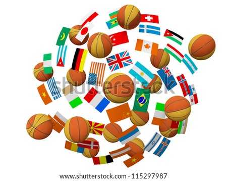 Basketball balls and flags a symbol of the international competitions 3d