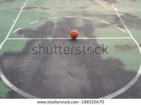 Basketball, Basket ball ball over floor
