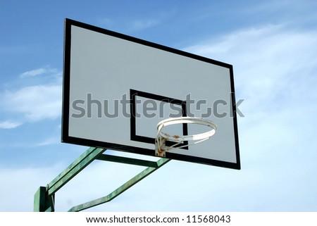 basketball basket in blue sky