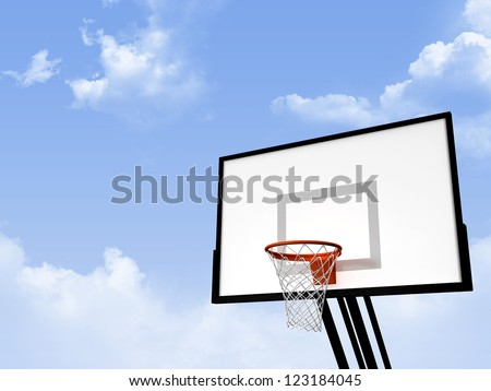 Basketball basket on cloudy blue sky background.
