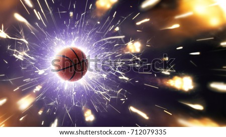 Basketball. Basketball ball. Basketball background with fiery sparks in action