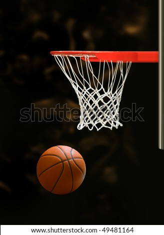 Basketball board and basketball ball on black background