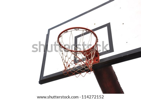 Basketball board on white background