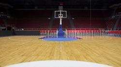 Basketball court and basketball hoop