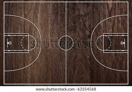Basketball court floor plan on old brown wooden pattern for Basketball floor plan
