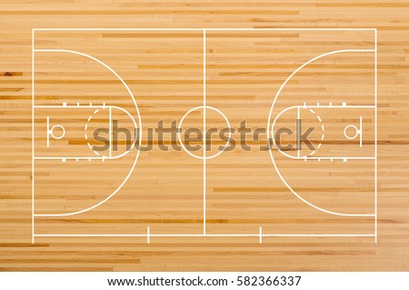 basketball court floor with...