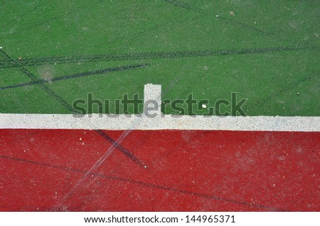 Basketball court lines on painted concrete minimal grungy background.