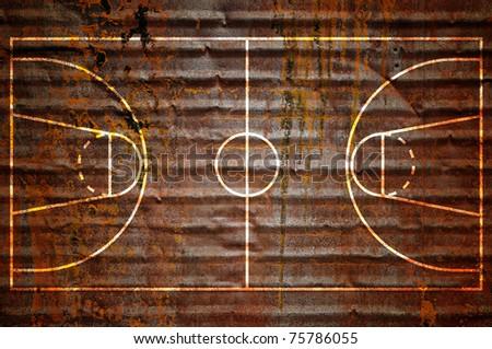 basketball court on rusty metal ...