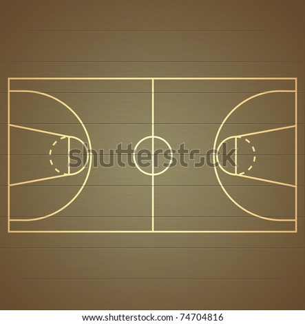 Basketball Court on wood texture background