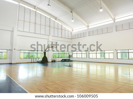 basketball court,  school gym indoor.