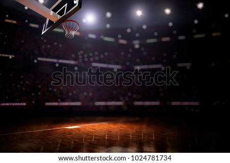 Basketball court with people fan 3d render background