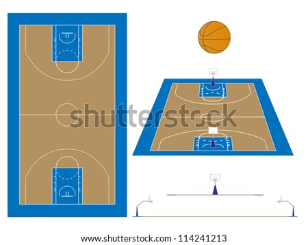 Basketball Court with Sections and Perspective