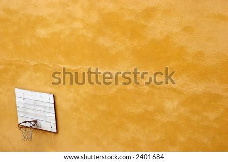 basketball court, yellow wall